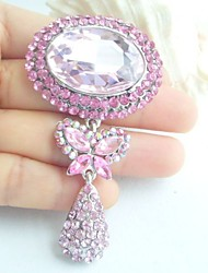 Women Accessories Art Deco Silver-tone Pink Rhinestone Crystal Brooch Bouquet Dangling Flower Brooch Women Jewelry