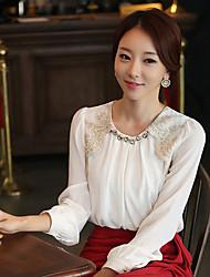 Women's White/Black Blouse , Round Neck Long Sleeve