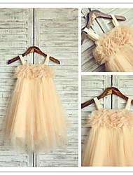 Flower Girl Dress Tea-length Chiffon/Tulle A-line Sleeveless Dress