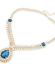 New Arrival Fashional High Quality Rhinestone Created Gem Water Drop Necklace
