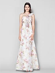 homecoming vloer-length chiffon bruidsmeisje jurk - een schouder af te drukken a-lijn