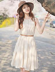 Women's Solid Beige Dress , Work Round Neck Sleeveless Button/Ruffle