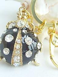 Ladybug Pendant Black Ladybug KeyChain With Clear Rhinestone Crystal