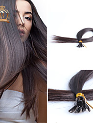 "20""inch U Tip Peruvian Virgin Hair Straight Human Hair Color Natural Black"