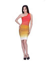 Cocktail Party Dress - Multi-color Petite Sheath/Column One Shoulder Short/Mini Nylon Taffeta