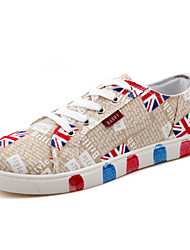 Men's Shoes Casual Canvas Fashion Sneakers Red/Beige/Navy