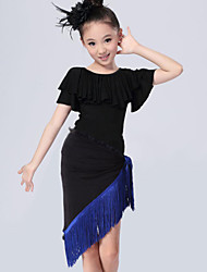 Latin Dance Performance Outfits Children's Fashion Performance/Training Polyester Tassel Outfit Blue/Fuchsia/Red Kids Dance Costumes