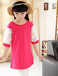 Girl's Cute Lace Splice Thin/Medium ½ Length Sleeve Dresses (Cotton)