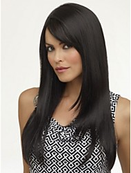 Beautiful Brazilian hair Front lace wig Natural black Silk Straight with Bangs 14- 24inches Human Hair Wigs for women