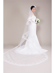Wedding Veil Two-tier Cathedral Veils Lace Applique Edge