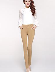 De las mujeres Pantalones Ajustado - Casual/Para Trabajo Microelástico - Algodón