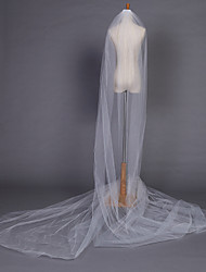 Wedding Veil One-tier Chapel Veils Pencil Edge 204.72 in (520cm) Tulle White Ivory