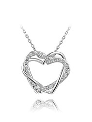 T&C Women's Classic Love Heart Designer CZ Diamond Pendant Necklace 18K White Gold Plated Wedding Jewelry