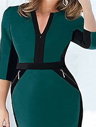 New Fall Winter Women Half Sleeve Zipper Slimming Stretchy Knee-Length Dress Ladies Wear to Work Pencil Dresses