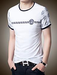 Masculino Camiseta Casual Estampado Algodão/Lycra Manga Curta Masculino