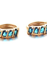 Sjeweler New Style Female Gold-Plated Blue Zircon Earrings