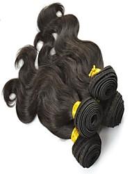 """4pcs lot 10 """"-26"""" péruvien vague de corps de cheveux humains naturels non transformés tissage de cheveux humains noire"""