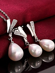 Platinum Plated Pearl Necklace Earrings Fashion Pearl / Zircon Wedding Jewelry