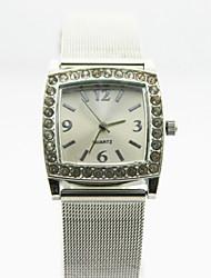 caja de la aleación analógica de la mujer cuadrados marcar las mujeres del reloj de cuarzo reloj de regalo del reloj de negocios chino