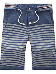 Men's High-quality Casual Stripe Bermudas Short Trousers Elastic Waist with Wash(100% Cotton)K5561