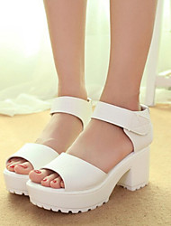 Sakura Women's Shoes Black/White Chunky Heel 3-6cm Sandals