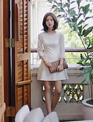 Women's Sexy Beach Casual Cute Micro Elastic Long Sleeve Above Knee Dress (Cotton)