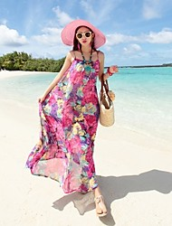 Women's Floral Multi-color Dress , Sexy/Beach Halter Sleeveless Flower
