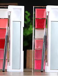6-farve fugtgivende nourshing rosenrødt lyserød farve shimmer sød lip gelé lip gloss (spejl&læbe pensel i, assorterede 2 farver)