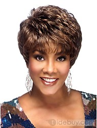 100% Human Hair Wig Capless Super Natural Short Straight Brown with Auburn Highlights Human Hair Wigs