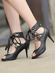 Women's Shoes Stiletto Heel Heels/Open Toe Sandals Dress Black/White