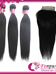 "Top Quality Virgin Indian Straight Human Hair Weave 12""-30"" With Virgin Remy 4*4Inch Lace Closure 10""-20"" 1B Human Hair"