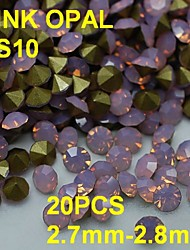 SS10 20pcs/lot 2.7mm-2.8mm 3D Rhinestones Decoration Pink Color Opal Rhinestone Golden Point Back Nail for Dress