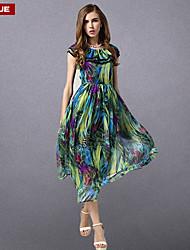 suyue® nueva gasa de la moda clásica vestido maxi impresión del vintage de las mujeres de la moda