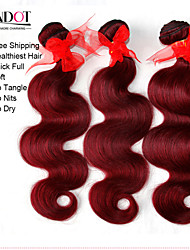 "4 Pcs 12""-30"" Brazilian Body Wave Red Remy Human Hair Weave Wavy Bundles Virgin Hair Wefts Burgundy Wine  Tangle Free"