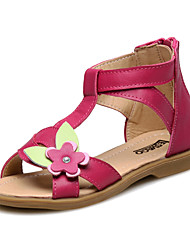 Girl's Sandals Summer Comfort / Slingback / Round Toe / Open Toe Leather Outdoor / Casual / Athletic Flat Heel Applique / Zipper / Flower