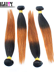 "4Pcs/Lot 10""-26"" Ombre Human Hair Extensions T1B/30 Two Tone Color Brazilian Virgin Hair Straight Remy Hair Bundles"