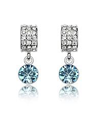 Moon Bay Drop Earring Plated with 18K True Platinum Aquamarine Crystallized Austrian Crystal Stones