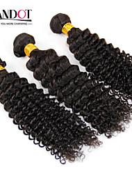 """3 Stück lot 12 """"-30"""" unverarbeitete mongolischen verworrenes lockiges reines Haar Einschlagfäden natürliche schwarze 1b # raw remy"""