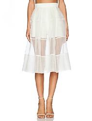 Women's Mesh Patchwork High Waist White Color Cute Skirts