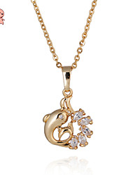 KuNIU Women's Lovely 18K Gold Plated Dolphin with Clear Cubic Zircon  Pendant Necklace D0061