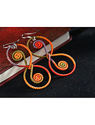 European and American Famous Brand Ethnic Jewelry Chinese Style Yellow Red Color Cotton Thread Earring