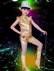 Jazz Performance Outfits Children's Performance/Training Polyester Sequins Outfit Blue/Gold Kids Dance Costumes