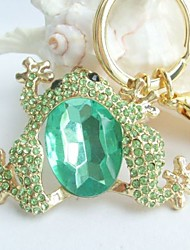 Gorgeous Toad Frog Key Chain With Green Rhinestone crystals