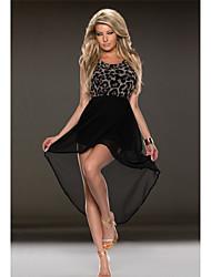 Beauty Leopard and Black Patchwork Asymmetrical Chiffon Dress Women Vestidos Long Casual Dress 9192