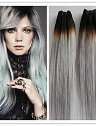 """3pcs / lot 8a grado de plata extensiones del pelo virginal brasileño del pelo gris recta brasileña tejer 10 canas """"-34"""""""