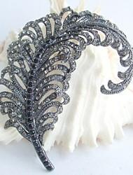 Wedding Accessories Black Gray Rhinestone Crystal Leaf Brooch Art Deco Crystal Brooch Bouquet Women Jewelry