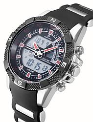 ASJ Masculino Relógio de Pulso Quartzo LCD Calendário Cronógrafo Impermeável Dois Fusos Horários alarme Silicone Banda Preta