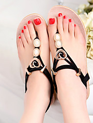 Women's Shoes Faux Leather Flat Heel Flip Flops Sandals Outdoor/Dress/Casual Black/Red/White