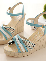 Women's Shoes Wedge Heel Open Toe Sandals Dress Blue/Green/Beige