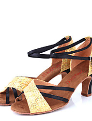 Women's Dance Shoes Sandals Paillette Chunky Heel Black and Gold